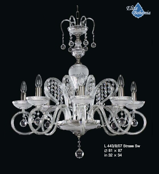 Kryształowy żyrandol z kryształami Strass Swarovski - w chromie