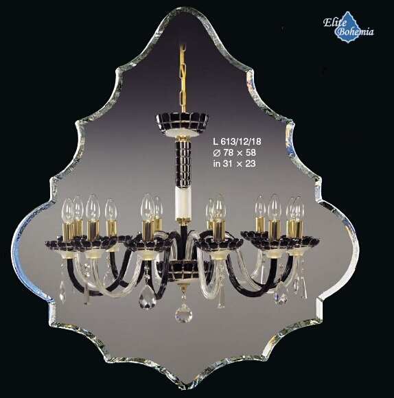Żyrandol z czarno - białego szkła kryształowego z kryształkami Swarovskiego