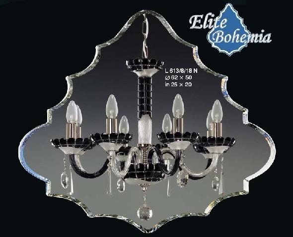 Czarno - biały żyrandol kryształowy - matowe szkło kryształowe