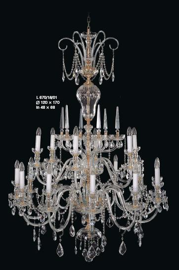 Duży żyrandol dwupoziomowy - oświetlenie do sali weselnej lub balowej