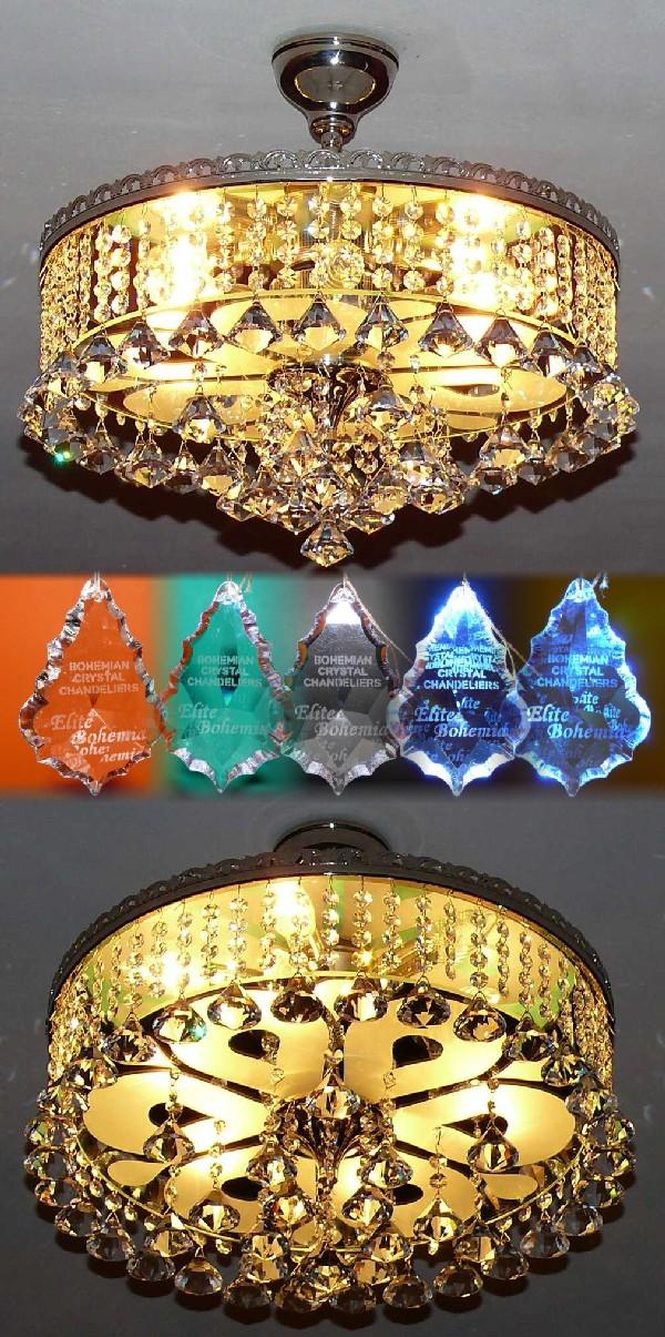 Okrągły plafon z kryształowymi dimentami i lustrem Swarovskiego