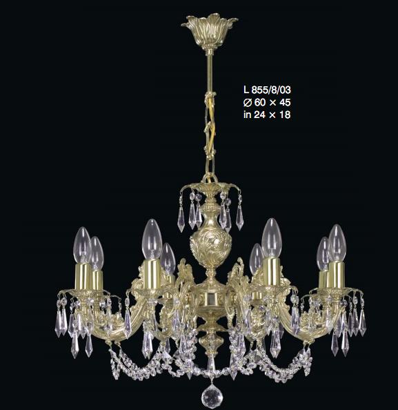 Modny żyrandol z mosiądzu z kryształami Swarovskiego - matowe złoto