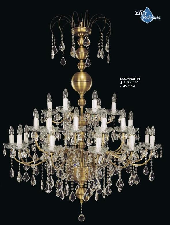 Duży żyrandol z kryształami do restauracji lub sali balowej - weselnej