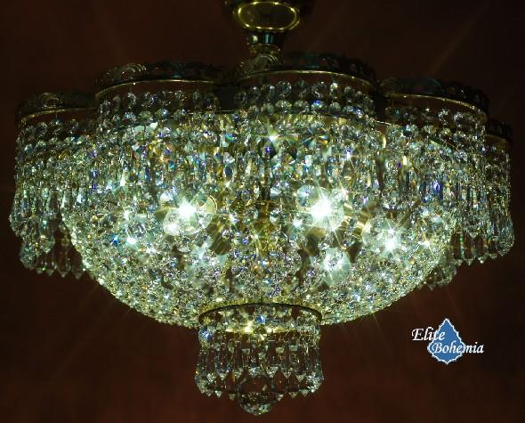 Kryształowa plafoniera z łańcuszkami i lustrem Swarovskiego - słonecznik