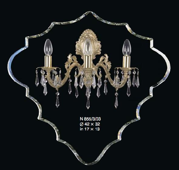 Kinkiet z brązu ozdobiony kryształami Swarovski Spectra