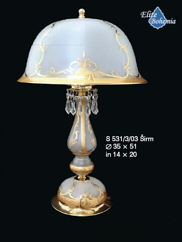 Stylowa lampa stołowa ze szklanym białym kloszem