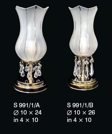 Lampka nocna z kryształkami Swarovskiego z białym kloszem ze szkła matowego