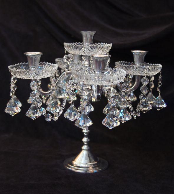 Srebrny świecznik z kryształkami Swarovskiego - pięcioramienny