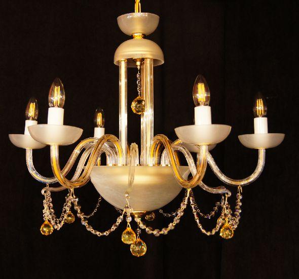 Żyrandol ze szkła kryształowego ze złotymi (kolorowymi) kryształami