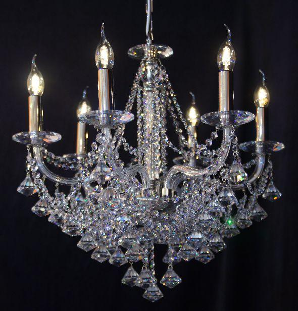 Nowoczesny żyrandol kryształowy - z kryształami Swarovski Spectra
