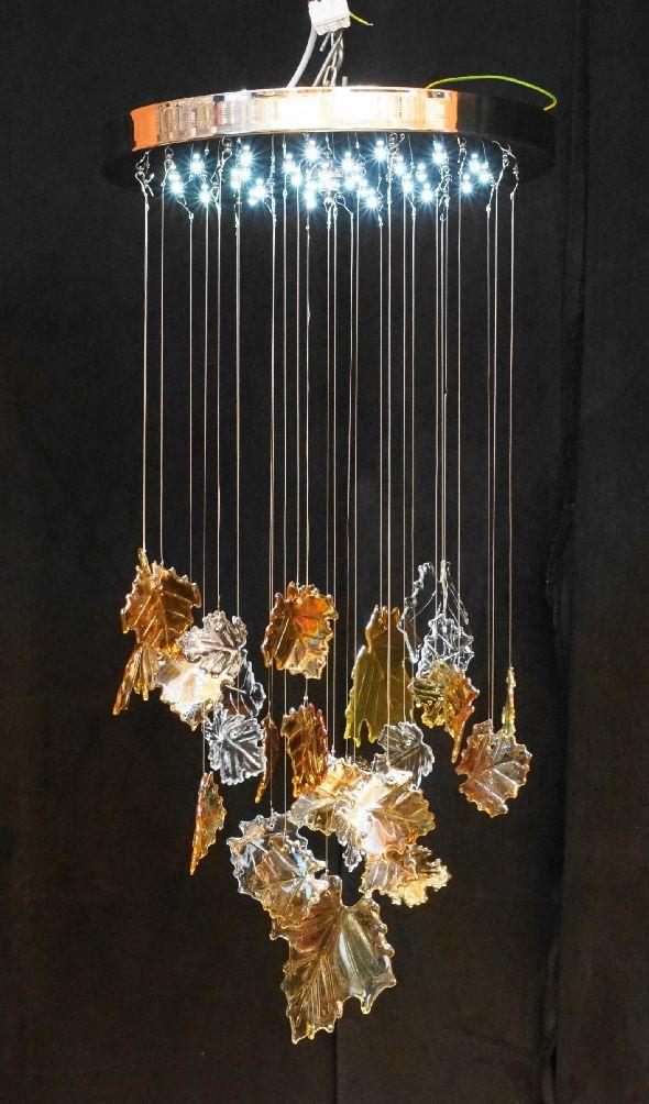 Nowoczesny plafon LED z kryształowymi liśćmi Swarovskiego