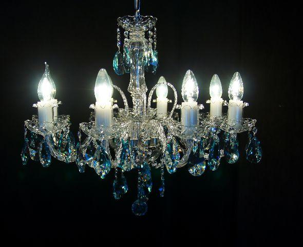 Żyrandol z błekitnymi (niebieskimi) kryształami - Swarovski Spectra