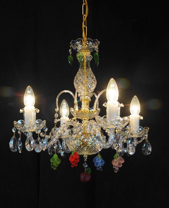 Kryształowy żyrandol do kuchni lub jadalni - z kolorowymi kryształami