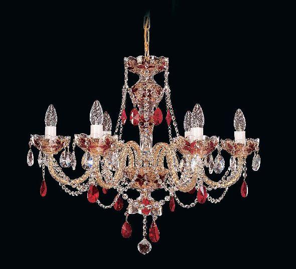 Czerwony żyrandol z czerwonymi kryształkami Bohemia
