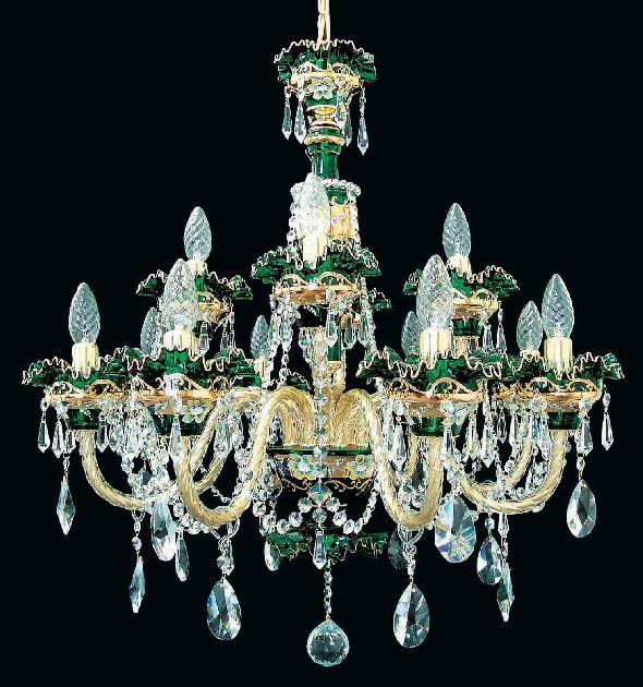 Zielony żyrandol kryształowy ozdobiony kryształkami Swarovski Crystal i Bohemia