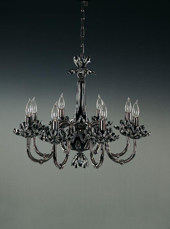Ekskluzywna czarna lampa z kryształu i mosiądzu z elementami chromu