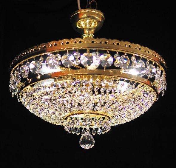 Klasyczny plafon (plafoniera) na 6 żarówek - z czeskimi kryształkami Bohemia