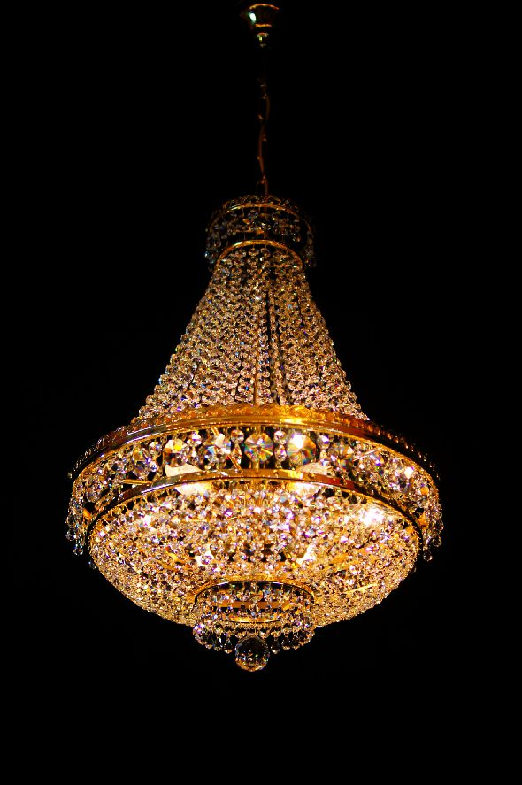 Klasyczny plafon kryształowy na sześć żarówek (gruszka) - kryształy Swarovski