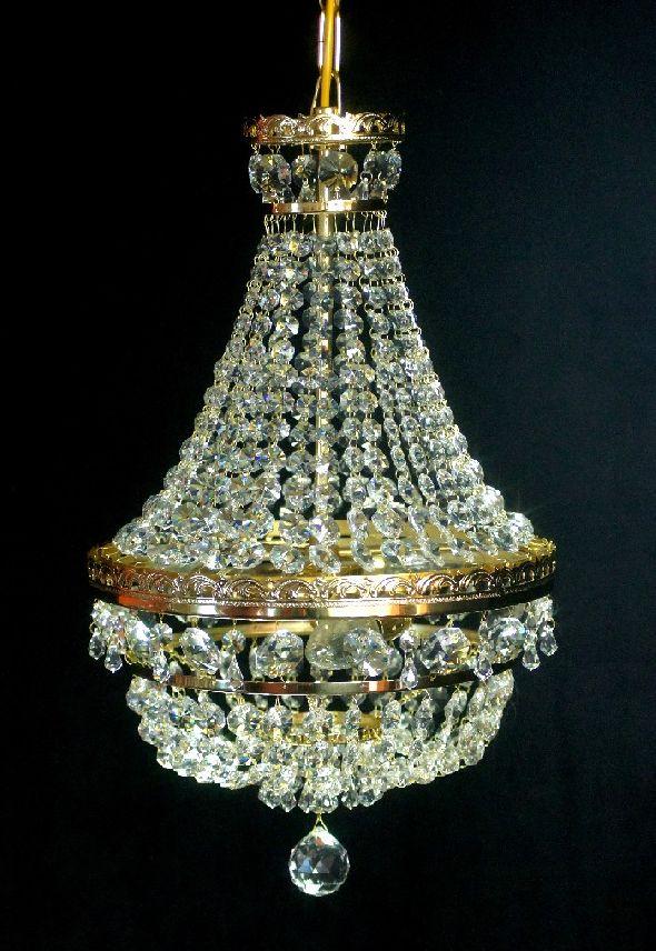 Plafon kryształowy w kształcie gruszki (koszyka) z kryształków Swarovski Spectra