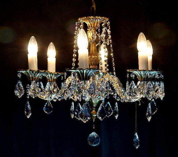 Żyrandol metalowy - brąz z elementami kryształowymi