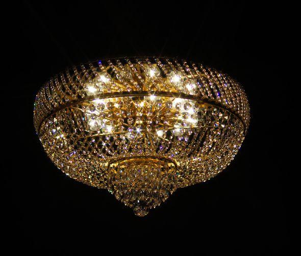 Ekskluzywny duży plafon z lustrem i kryształami Swarovski Spectra