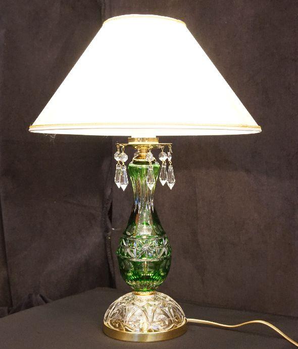 Lampka stołowa z białym abażurem i kryształami Swarovski
